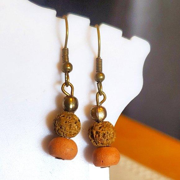 Bronze Hook Clay and Lava Bead Dangle Earrings NWT